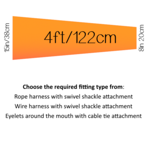 4ft (48 inch) / 122 cm (15in/38cm mouth)