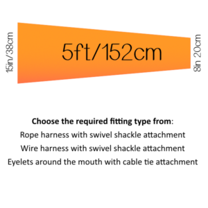 5ft (60 inch) / 152 cm (15in/38cm mouth)