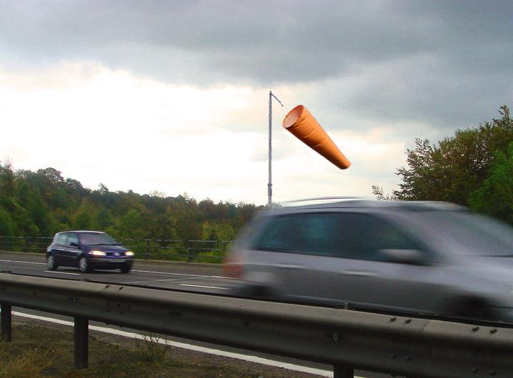 Windsocks on the side of highways